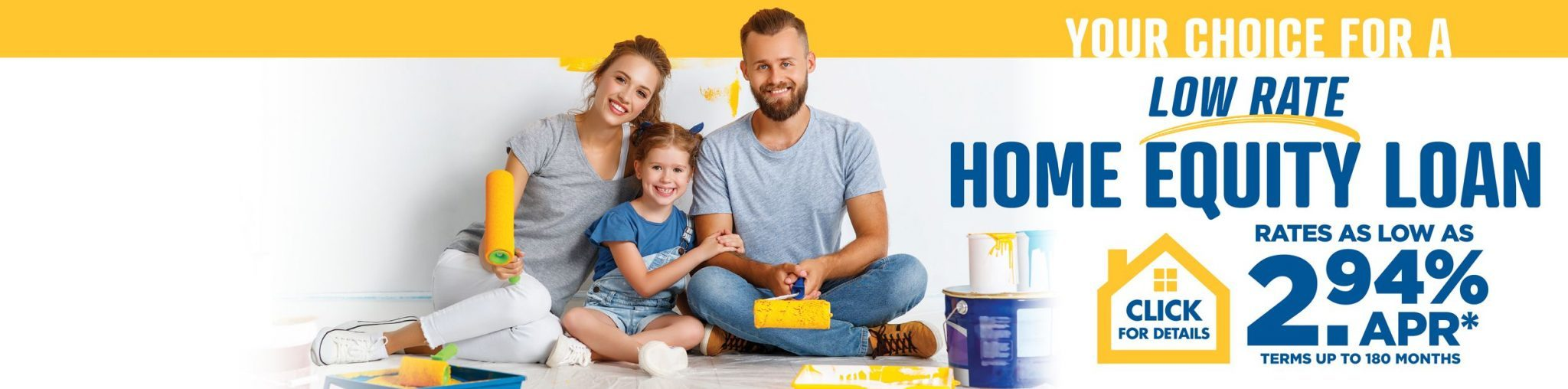 Family painting wall yellow. Home equity line of credit promotion.