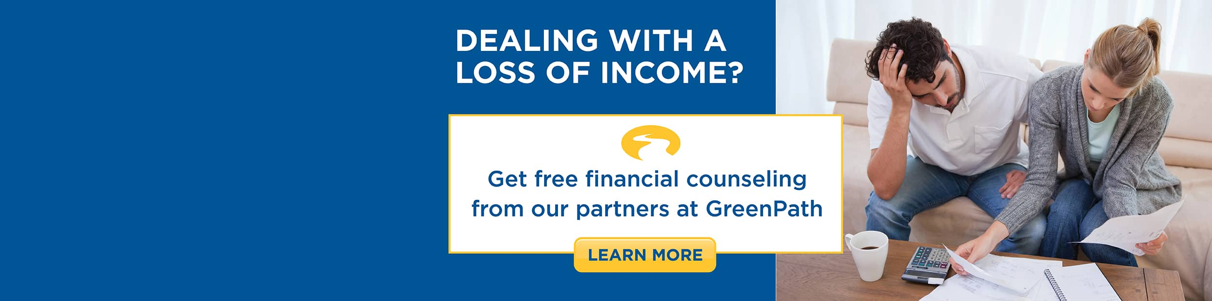 GreenPath Financial Counseling web banner featuring a frustrated couple reviewing their finances.