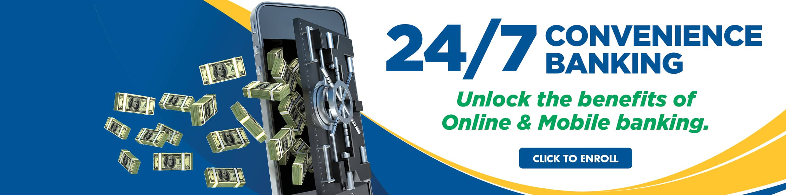 Online banking web banner with money flowing out of a cellphone looking vault.