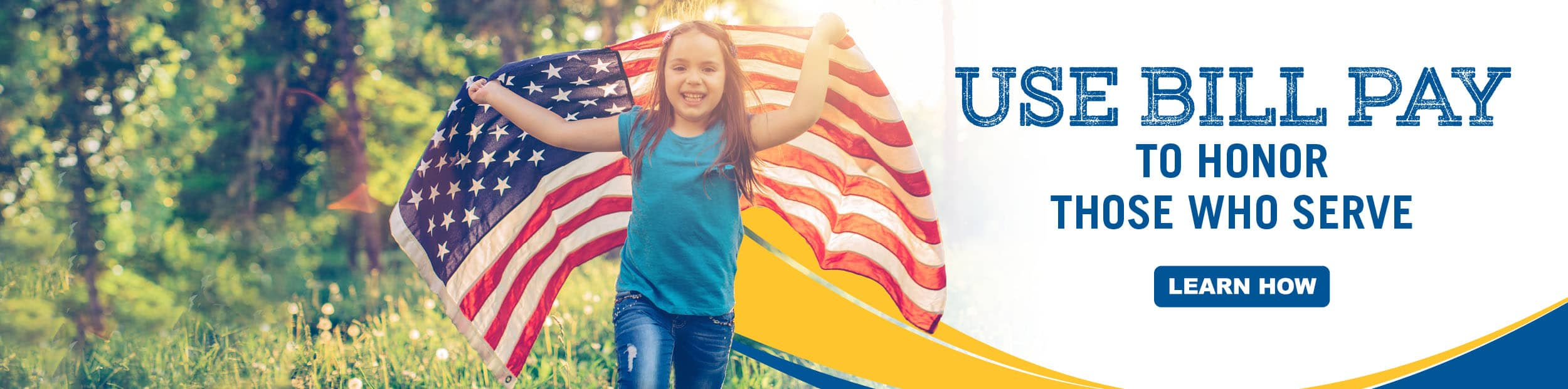 Little girl with brown hair running outside with the American flag.