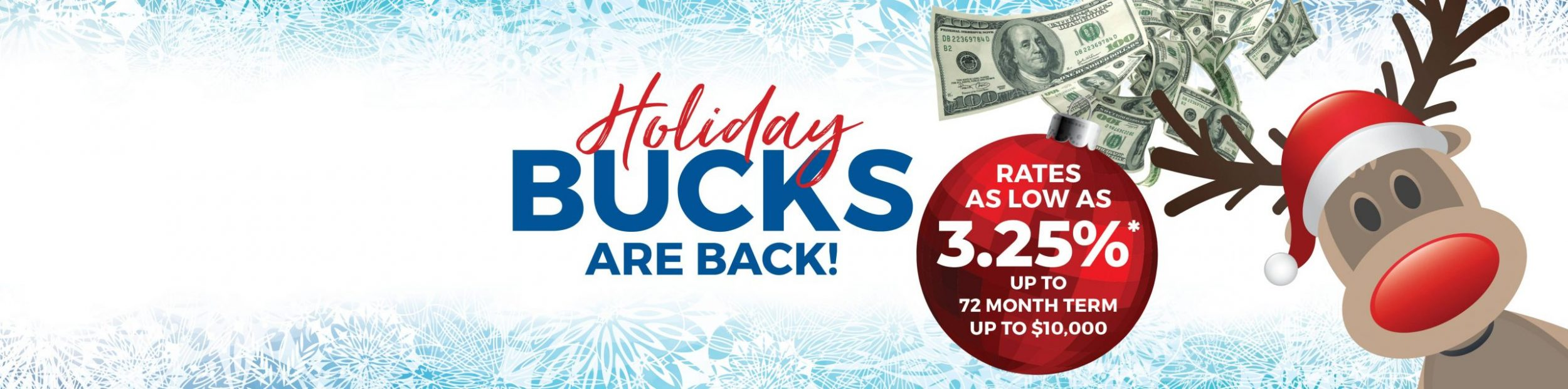 Holiday bucks landing page banner featuring a red nose reindeer wearing a santa clause hat.
